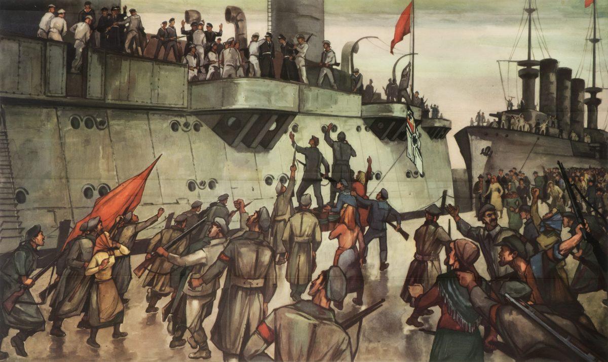 Aufstand der Matrosen in Kiel, Schulwandbild von Franz Reiß, nach 1949 aus dem Kieler Stadt- und Schifffahrtmuseum